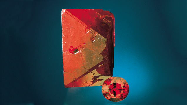 Spinel Crystal and Cut Stone
