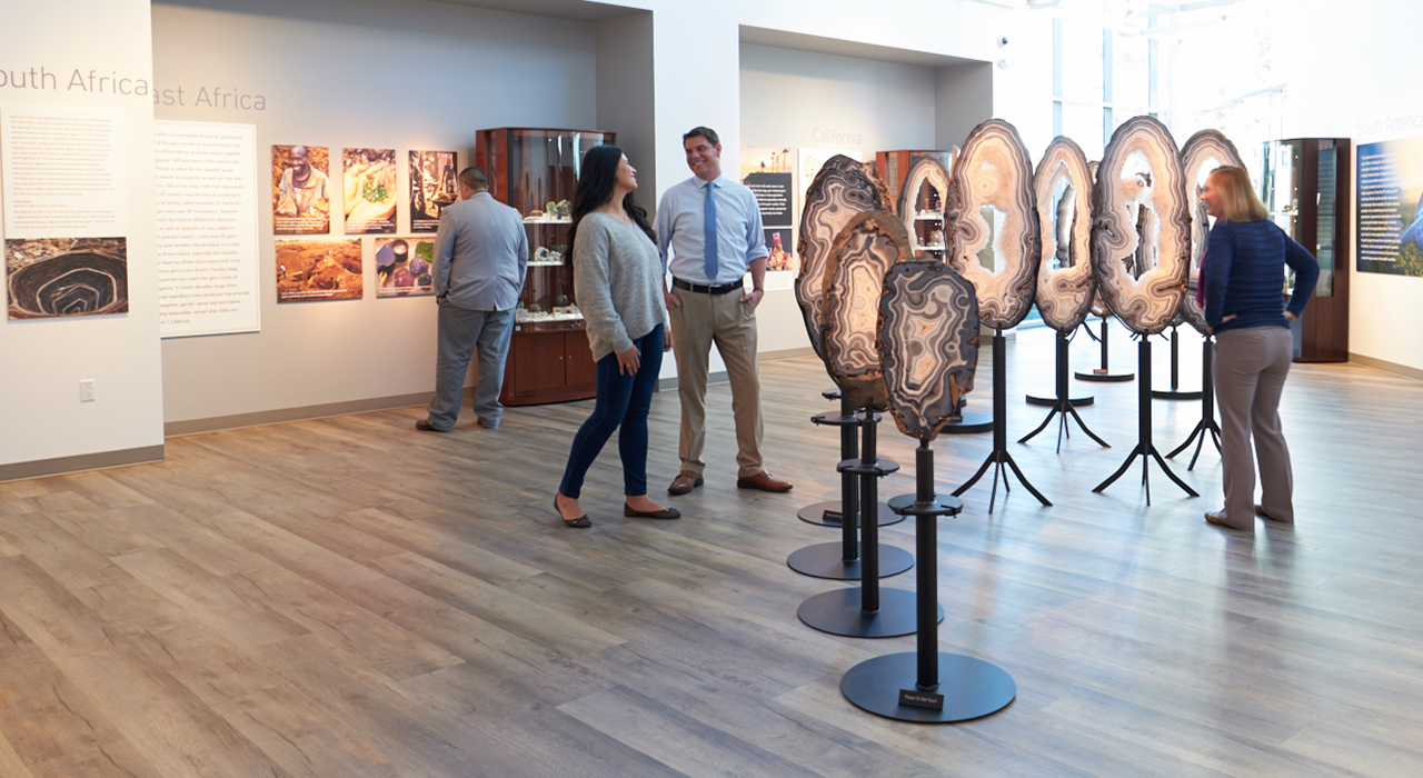 Guests at GIA exhibit looking at full Eyes of Brazil exhibit