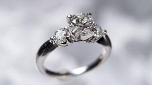 三石钻石铂金戒指