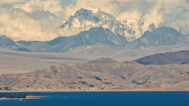Huayna Potosi Mountain and Lake Titikaka