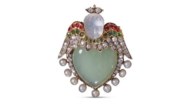 古董月光石天使胸针