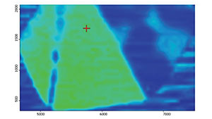 Infrared mapping data of an HPHT-grown synthetic diamond wafer.