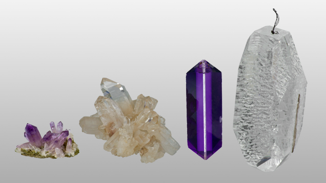 Natural and synthetic amethyst and synthetic rock crystal quartz crystal