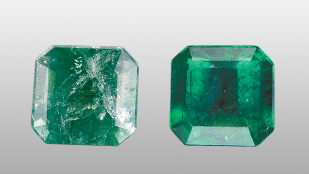 Fracture filled emeralds