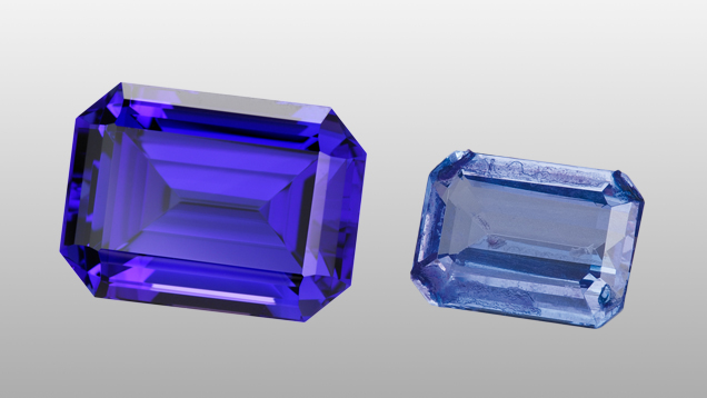 Natural and treated tanzanite