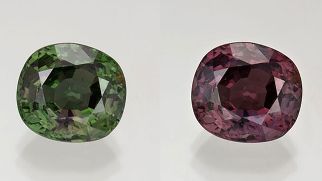 A color-change alexandrite shown side-by-side in different lighting. On the left in green from fluorescent light and on the right in reddish purple from incandescent light.