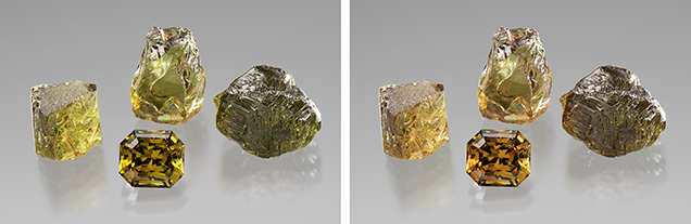 Garnets under daylight-equivalent (left) and incandescent light (right).