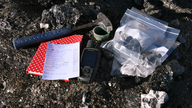 Expedition tools and bagged gem samples