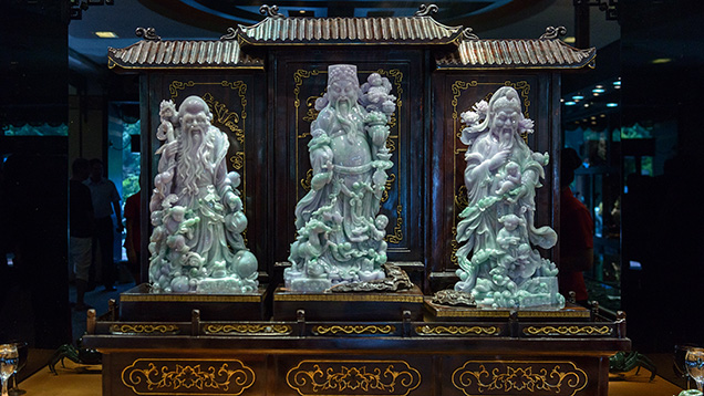 Carved jade statuettes
