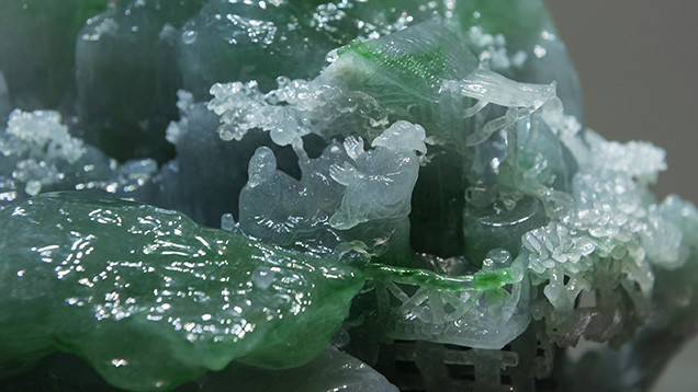 Close-up of high-quality Shan Zi jadeite carving