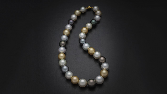 Multicolor cultured pearl necklace