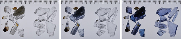 Scapolite fragments exposed to UV radiation