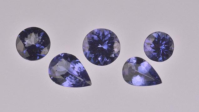 Titanium-coated tanzanite