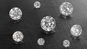 Eight HPHT faceted synthetic diamonds from AOTC Group