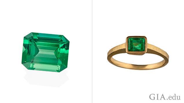 エメラルド形の緑色の宝石2個。1つ目は裸石(ルース)で、もう一つはリングにセットされています。
