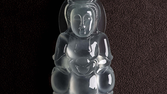 Colourless Guanyin jadeite pendant