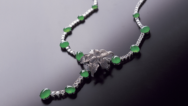 """Dancing Bird with Jade Feathers"" jadeite necklace"