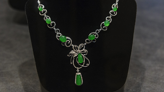 Imperial green jadeite necklace