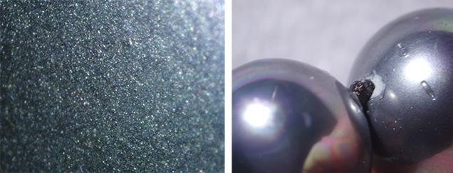 Shell pearls show glittery coating, damage near drill hole
