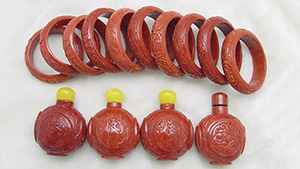 14 ornaments of coral veneer glued to matrix