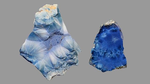 Two shattuckite specimens