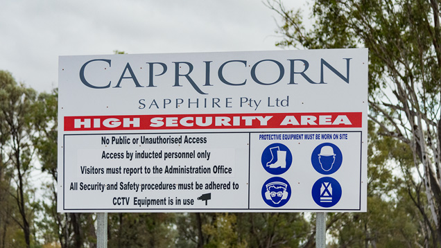 Capricorn sapphire mine entrance sign
