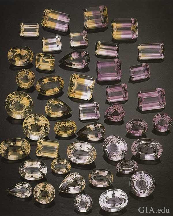 安纳西矿晶体经过刻面后产出黄水晶、紫水晶和紫黄晶。摄影:GIA 与Tino Hammid(蒂诺·哈米德)