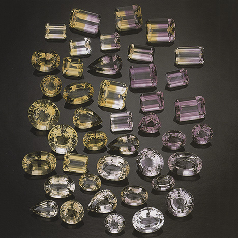 The rough output from the Anahi mine produces amethyst, citrine, and ametrine finished gems in a range of tone and color intensities. Photo © GIA and Tino Hammid.
