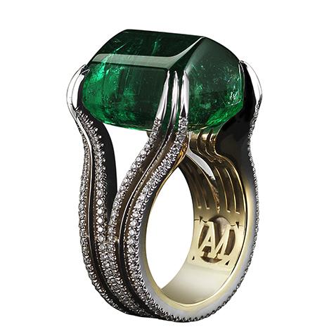 Sugarloaf Green Emerald Ring