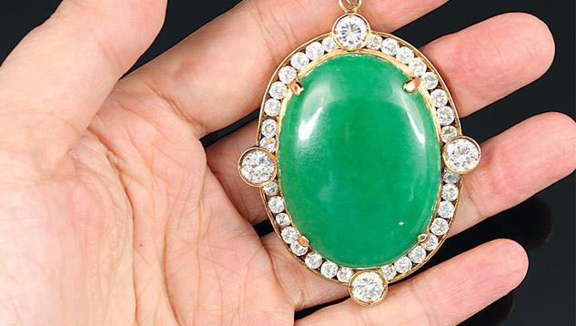 Dyed green marble imitating jadeite