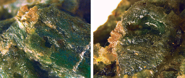Magnified images of coated lawsonite pseudomorphs