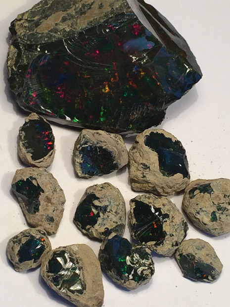 Pieces of black opal from Stayish mine