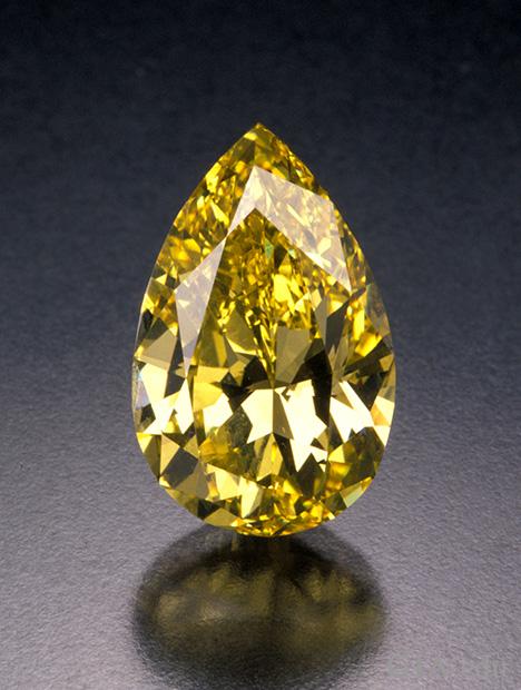 一颗大型梨形黄色钻石