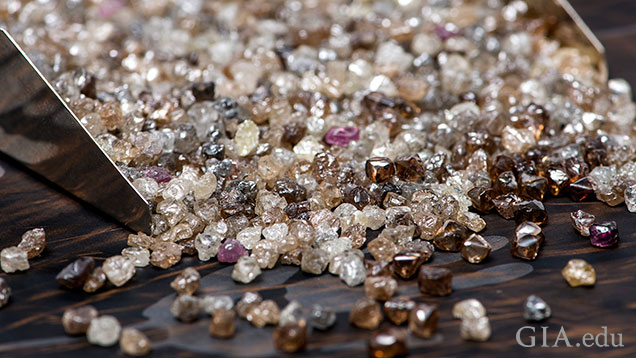 A pile of rough diamonds.