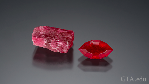 Tugtupite, a collector's stone from Greenland, is named after the location it was found, Tugtupit agtakôrfia. Tugtup means reindeer in Inuit. Courtesy of Ice Cold Gems, William Rohtert. Photo by Robert Weldon/GIA