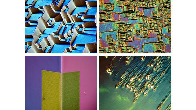 Four photomicrographs of gem surfaces