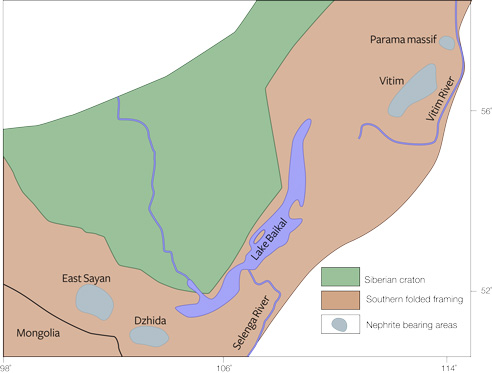 Map of green nephrite deposits in Russia