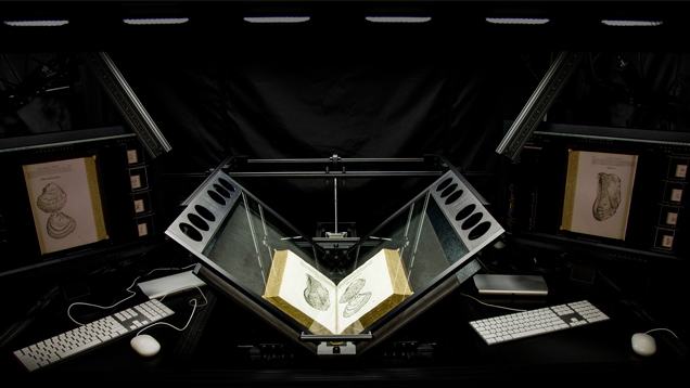 A high-tech digitizing machine cradles the books for scanning instead of forcing them into a flat, spine-damaging position.