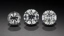 Three round brilliant diamonds in a row