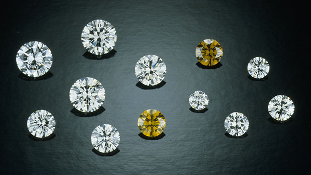 Six experimental synthetic diamonds and six natural diamonds.