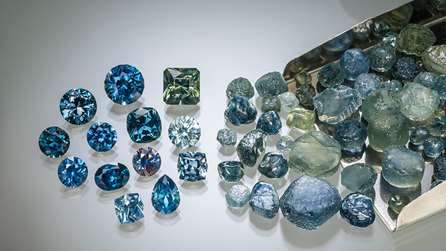 Sapphire rough and faceted stones
