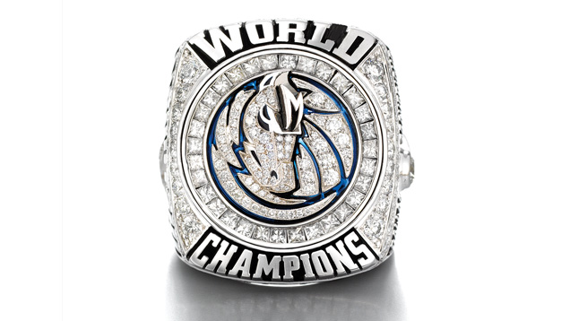 Image showing the top of the 2011 Dallas Mavericks championship ring.