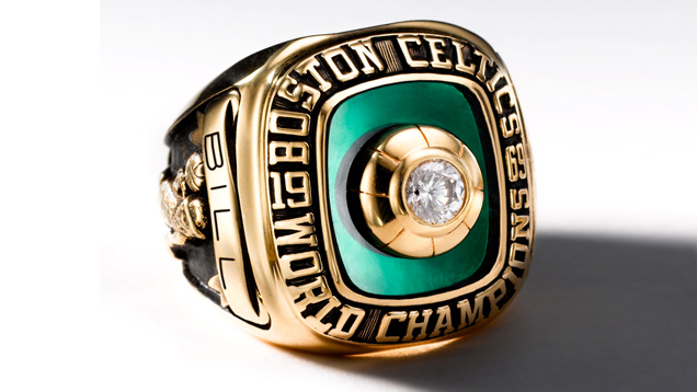Image showing the top and side of the 1969 Boston Celtics championship ring