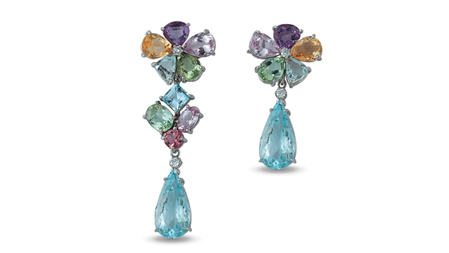"The ""Alice"" drop earrings feature imperial topaz, amethyst, aquamarine, green and pink tourmaline, morganite and diamond set in 18K white gold."