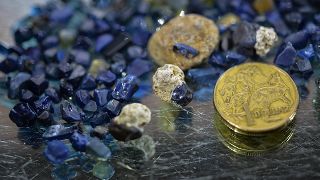 Sapphire rough and host rock