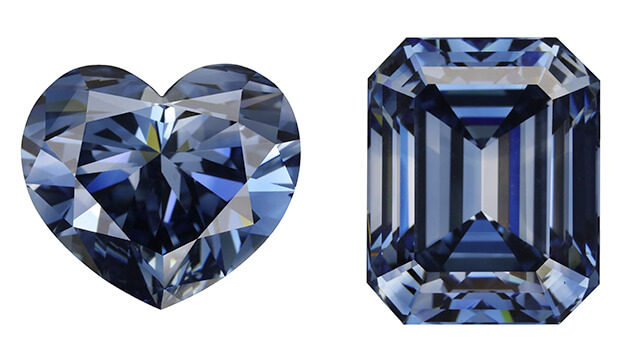 Heart-shaped and emerald cut blue HPHT diamonds