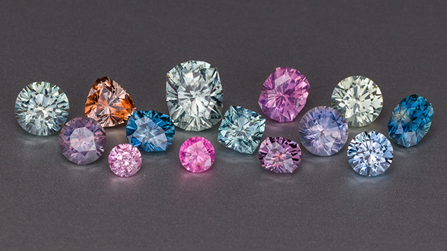 Faceted sapphires of many colors