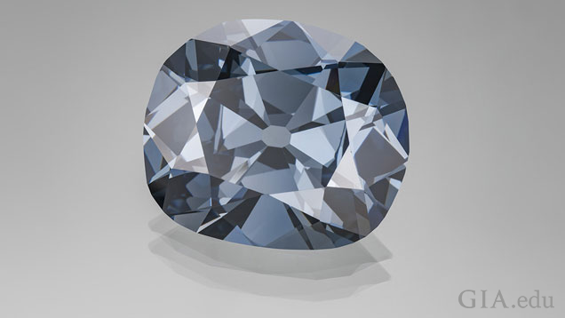 Blue diamond against a gray background