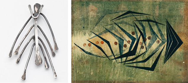"""""""Fishbone"""" pendant and related monotype."""