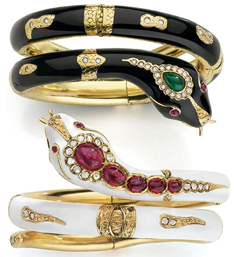 Serpent bracelets from Mellerio.